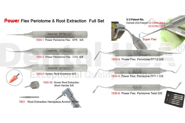POWER FLEX  PERIOTOME & ROOT EXTRACTION  FULL SET OF 8