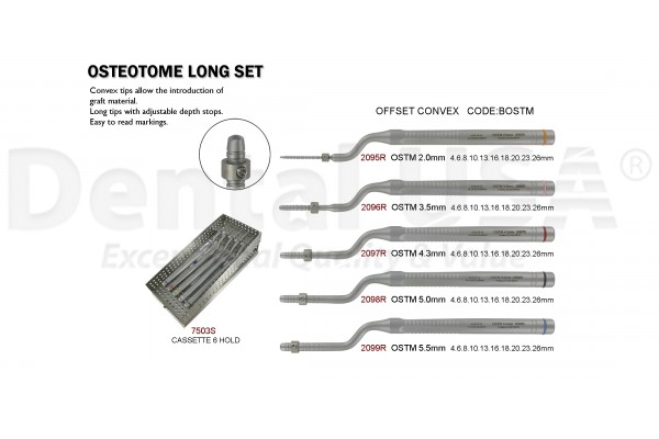 OSTEOTOME LONG  SET (6 INST) OFFSET CONVEX