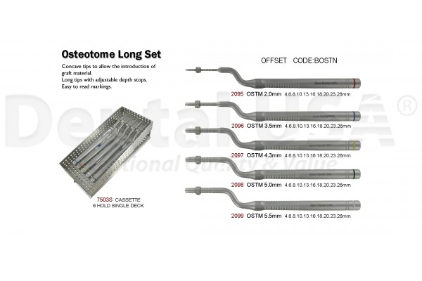 OSTEOTOME LONG OFFSET CONCAVE SET OF 6PCS OSTM