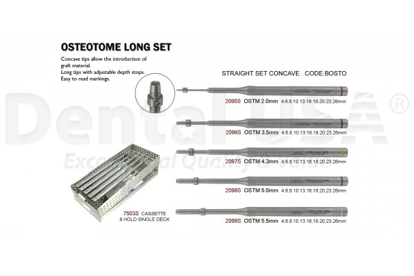 OSTEOTOME LONG  SET (6 INST) STRAIGHT CONCAVE