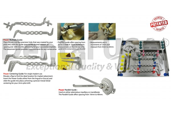 POWER IMPLANT GUIDE NEW EXTENSION KIT WITH MEASUREMENTS PARALLELING GUIDE WITH BOX