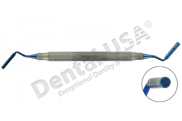 BONE GRAFT PACKER 3.3/4mm SERRATED  BLUE COLOR COATED TIPS