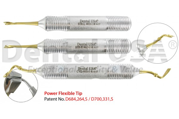 POWER FLEX TWIST PERIOTOME  /  ELEVATOR 3.7mm WIDTH ± 5 %  SET OF 3