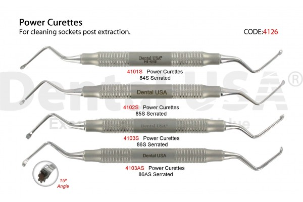 Easily remove granulation tissue with Dental USA's Power Curettes Serrated Kit