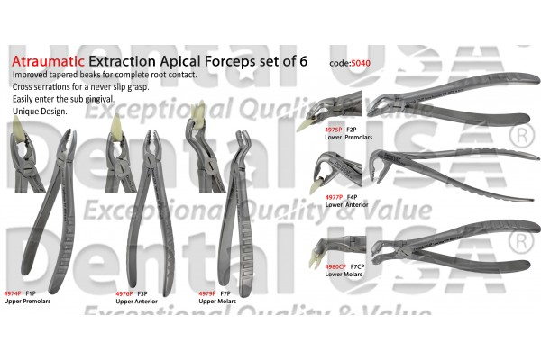 ATRAUMATIC UNIVERSAL EXTRACTION FORCEP ADULT / PEDIATRIC / CHILDREN  SET OF 6