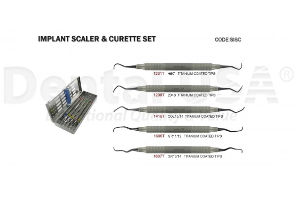 IMPLANT SCALER & CURETTES SET(6) (H6/7,204S,COL13/14C,GR11/12,GR13/14) WITH CASSETTE
